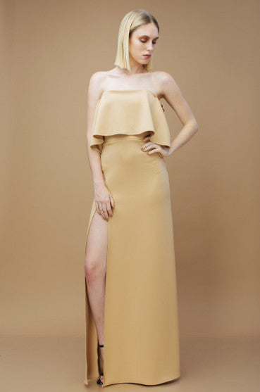 THE SPECTRUM Two Way Off Shoulder and Flounce Scuba Maxi Dress with High Slit (Dark Nude)