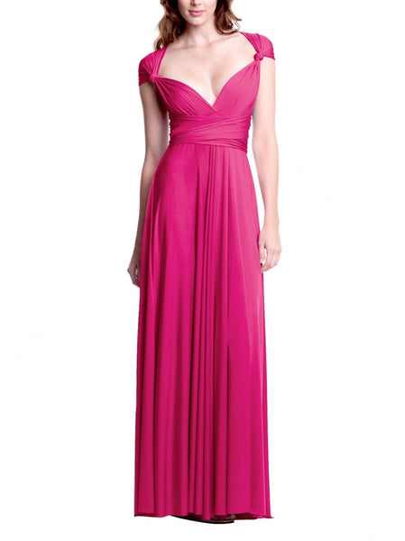 Fuchsia Pink Convertible/Multi-Way Maxi Dress