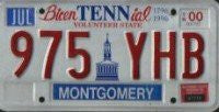 Tennessee Bicentennial License Plate Red Letters on White Backround