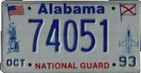 Alabama License Plate National Guard blue numbers on white