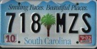South Carolina Smiling Faces License Plate