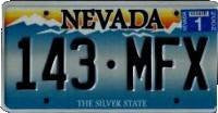 Nevada State License Plate blue numbers on blue snow capped mountains
