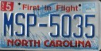 North Carolina First in Flight License Plate
