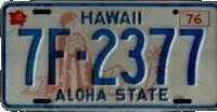 Hawaii Aloha State 76 King Kamehameha License Plate blue numbers on cream