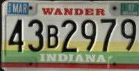 Indiana Wander License Plate black numbers on white yellow green
