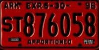 Arkansas Apportioned License Plate black numbers on red