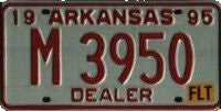 Arkansas Dealer License Plate red numbers on white
