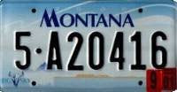 Montana License Plate black numbers on blue white sky and skull Flat Non-Embossed