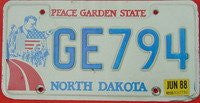 North Dakota Peace Garden State Blue Letters on White