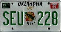 Oklahoma OK Mandela License Plate green numbers on white