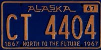 Alaska North to the Future license plate yellow numbers on blue