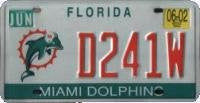 Florida Miami Dolphins License Plate orange numbers on white with Dolphin emblem