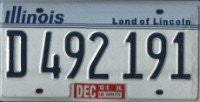 Illinois Land of Lincoln License Plate blue numbers on white gray