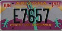 Arizona Protect Our Environment License Plate black numbers on purple desert with green geckos