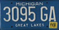 Michigan Great Lakes License Plate white numbers on blue