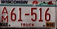 Wisconsin Truck License Plate red numbers on white