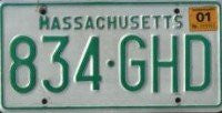 Massachusetts Green on White License Plate