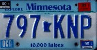 Minnesota 10,000 Lakes Flat License Plate Blue Numbers on White Blue Aluminum