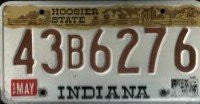 IN-109 Indiana Hoosier State license plate brown numbers on white with brown band on top.jpg