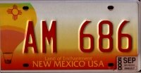 New Mexico Hot Air Balloon License Plate red numbers on white orange