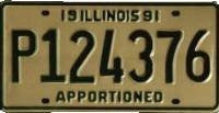 Illinois 1991 Apportioned License Plate black numbers on cream