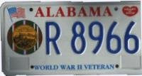 Alabama WWII Veteran License Plate blue numbers on white