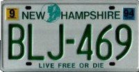 New Hampshire Green on White License Plate