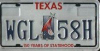 Texas 150 years of Statehood License Plate