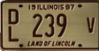 Illinois June 97 License Plate maroon numbers on cream