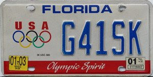 Florida Olympic Spirit license plate blue numbers on white with USA Olympic logo