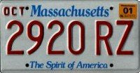 Massachusetts Spirit of America License Plate