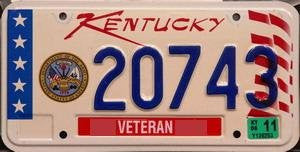 Kentucky Veteran State License Plate Blue Numbers on White with Stars Stripes and D.o.a. Emblem