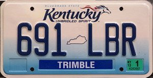 Kentucky Unbridled Spirit license plate blue numbers on white