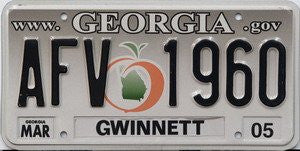 Georgia Georgia.gov License Plate Black Numbers on Grey to White with Orange and Green Peach