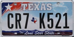 Texas The Lone Star State License Plate black numbers on red and blue sky with white Star and mountains flat non-embossed