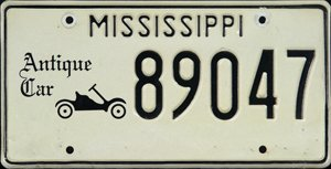 Mississippi Antique Car License Plate