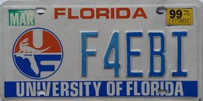 Florida University of Florida license plate blue numbers on white with UF emblem