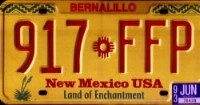 New Mexico USA Land of Enchantment License Plate red on yellow with Indian symbol