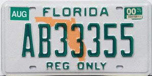 Florida Reg Only license plate green numbers on white with orange state map
