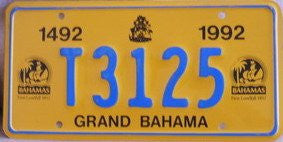 Bahama License Plate with Blue Numbers on Yellow
