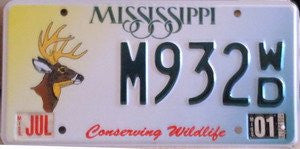Mississippi conserving wildlife white,yellow,green background with green numbers and a picture of a deer on left had side of plate