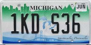 Michigan Spectacular Peninsula license plate black numbers on white with blue bridge and green city skyline