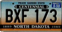 North Dakota Centennial License Plate