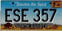 North Dakota buffalo on blue black and yellow License Plate