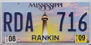 Mississippi License Plate with Light House and Blue Numbers