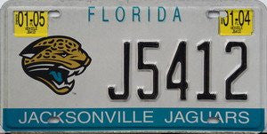 Florida Jacksonville Jaguars License Plate Black Numbers On White With  Jaguar Emblem