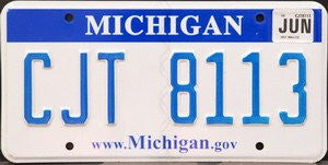 Michigan.gov License Plate blue numbers on white