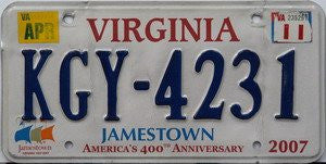 Virginia Jamestown License Plate 400th Anniversary blue numbers on white with 3 Flags