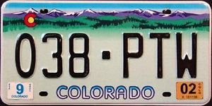 Colorado Truck State License Plate Purple Mountains with Black Letters on Light Green Backround