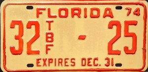 Florida 74 TFB license plate orange numbers on cream